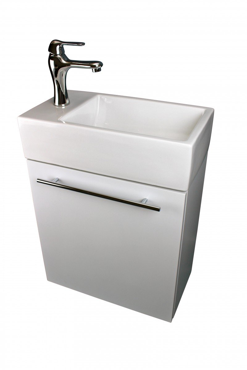 "Small Cabinet Vanity Sink Wall Mounted White Combo Set With Towel Bar, Faucet And Drain Space Saving Storage Design - Narrow Wall Mount Cabinet Vanity Sink Durable MDF Cabinet with Porcelain Grade A Vitreous China 23-5/8"" High x 17-3/4"" Wide x 9-7/16"" Proj. - bathroom-vanities, bathroom-fixtures-hardware, bathroom - 5119XQLIcxL -"