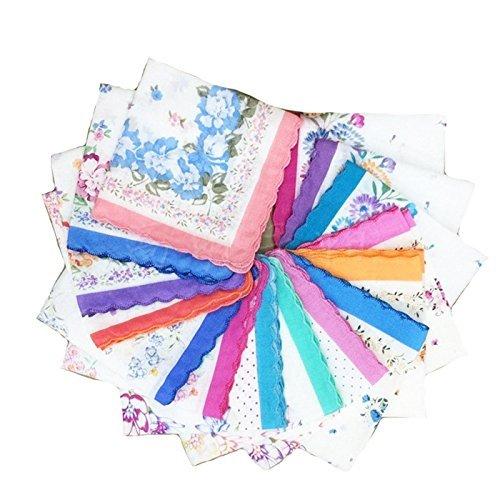 Personalized Hankies - LACS Womens Vintage Floral handkerchiefs mixed Lot Pretty Cotton Hankies