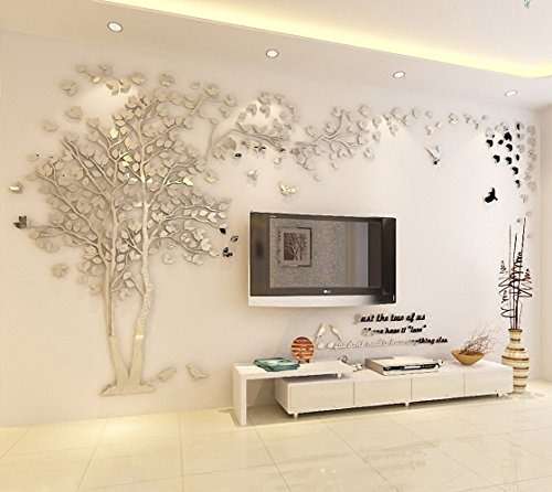 (DIY 3D Giant Couple Tree Wall Decals Wall Stickers Crystal Acrylic Wall Décor Arts (L, Silver, Left to)