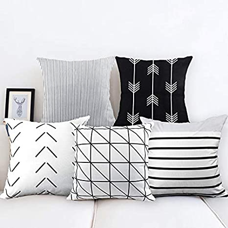 CDWERD 4pcs Fall Pillow Covers Thanksgiving Farmhouse Decorative Autumn Theme Throw Pillow Covers Cotton Linen Cushion Case 18x18 Inches
