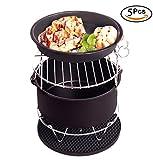 Air Fryer Accessories Kit of 5 Including Cake Barrel,Baking Dish Pan,Grill,Pot Pad, Pot Rack with Silicone Mat Fit all 3.7QT-5.3QT-5.8QT