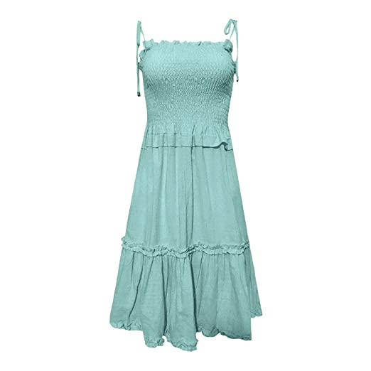 40f4d080624c9 Fanteecy 2019 Women Casual Solid Ruffles Mini Dresses Summer Sexy Spaghetti  Straps Smock Loose Sleeveless Party