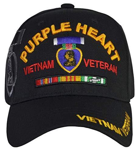 Heart Purple - Purple Heart Vietnam Veteran Hat Black