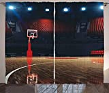 Ambesonne Basketball Curtains, Picture of Empty Basketball Court Sport Arena with Wood Floor Print, Living Room Bedroom Window Drapes 2 Panel Set, 108 W X 84 L Inches, Brown Black and Red