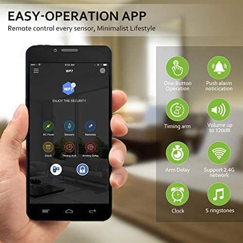 BIBENE 2.4Ghz WiFi Alarm System Wireless with APP Push Notification, Home Security Automation DIY Alarm Set with 5 Door Contacts 0-255s Delay Arm, No Monthly Fee, Expandable 8 Sensors 5119YvqGLOL