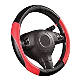 NEW ARRIVAL- CAR PASS RAINBOW UNIVERSAL FIT Steering Wheel Cover With PVC Leather (Black With Red)
