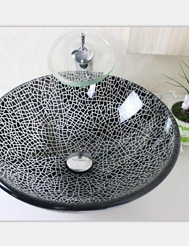 XH@G Black Crack Tempered Glass Vessel Sink With Chrome Waterfull Faucet Set