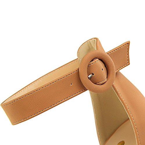 Talons Hauts Sandales Sexy Forme à à Plate Femmes de Camel Nightclub Boucle Ceinture Rugueuse Chaussures Bout Ouvert Plate Peep LIANGXIE Forme imperméable Sandales qwY0A8w