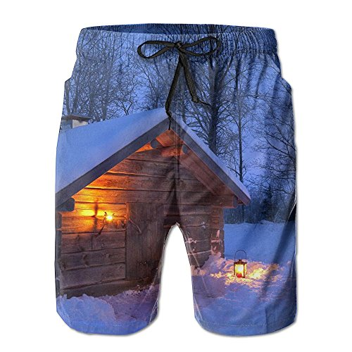 (Winter Countryside Snow Scene Mens Jogger Shorts Dry Elastic Waist Short Medium Length For Boys)