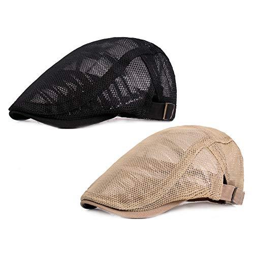 ZLSLZ 2 Pack Mens Mesh Breathable Ivy Newsboy Cabbie Gatsby Golf Flat Sun Hat Cap (1497BLA+KHA)