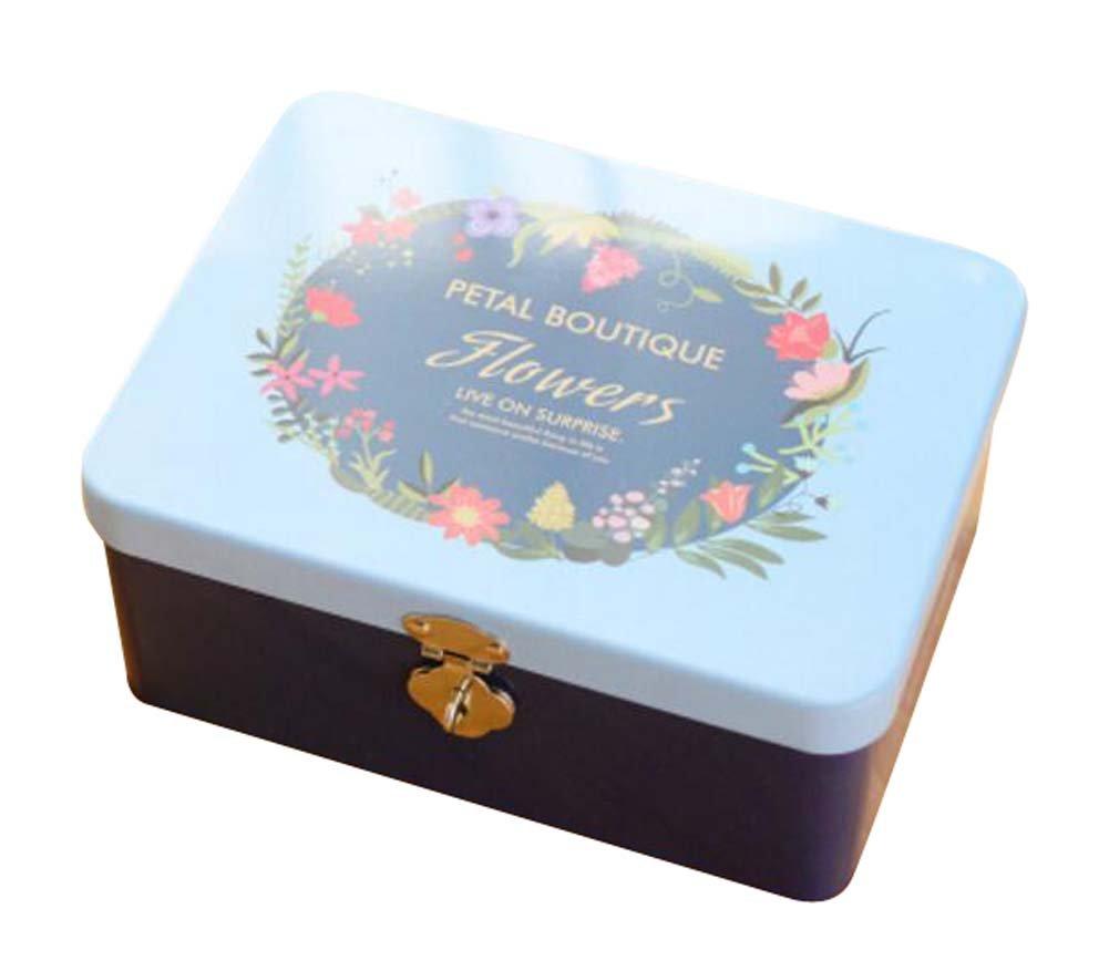 Cute Safe Lock Box Desktop Cosmetics Box-S/Dark Blue
