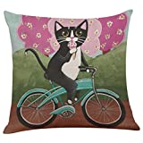 GBSELL Pillow Cover Riding Cat Pillow Case Sofa Throw Cushion Cover Party Home Decor (E)