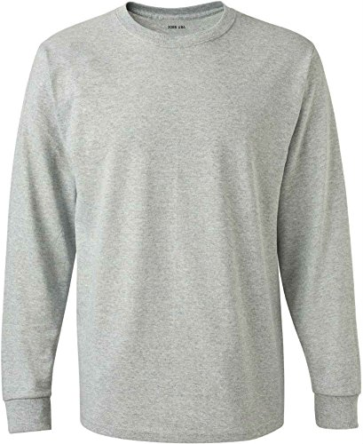 - Joe's USA tm - Tall Long Sleeve Cotton T-Shirt-Athletic.Heather-L
