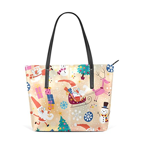PU TIZORAX Women's Fashion Bags Totes Leather Gift Purses Top Handbag Snowman Christmas Shoulder Handle wtqZ4rWtI