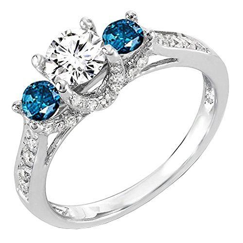 - 1.00 Carat (ctw) 14k White Gold Round White And Blue Diamond 3 Stone Ladies Bridal Engagement Ring 1 CT (Size 6)