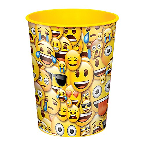 Package of 12 Smile Emoji Plastic Cups, 16oz