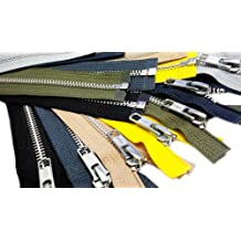 "ZipperStop Wholesale Authorized Distributor YKK® 30/"" 6 Colors) Jacket Zipper (Special AssorteYKK #5 Aluminum Metal - Medium Weight Separating - Color Black, Charcoal Grey, Light Beige, Lemon Yellow, Cedar Green and Steel Grey"