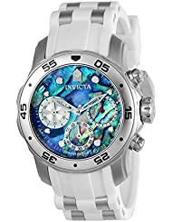 Invicta Mens Pro Diver Quartz Stainless Steel and Polyurethane Casual Watch, Color: White(Model: 24829)