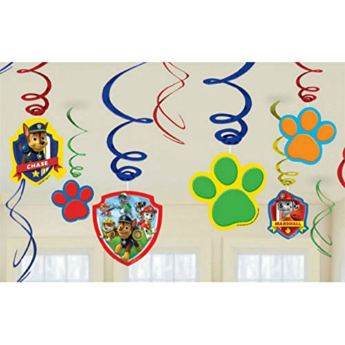 (12 Paw Patrol Puppy Pets Birthday Party Swirls Dangling Cutout Decorations)