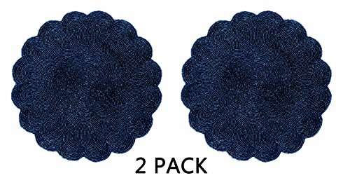 Cotton Craft - 2 Pack Beaded Placemat Set - Scalloped Round Hand Beaded Charger Placemat - Navy - Set of 2 - 14 Inches Round - Hand made by skilled artisans