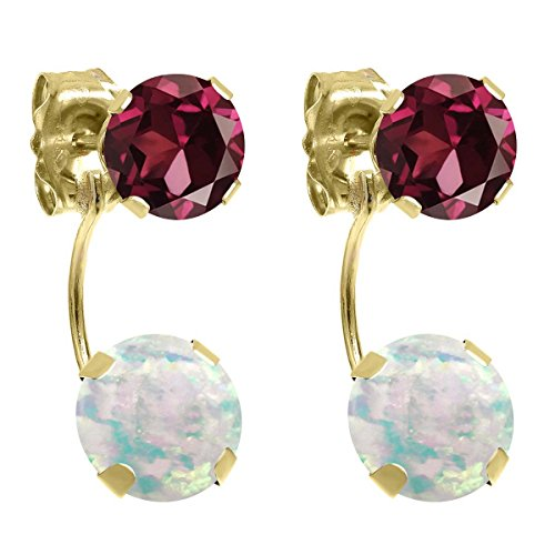 Rhodolite Yellow Earrings - 2.58 Ct Round Cabochon White Simulated Opal Red Rhodolite Garnet 14K Yellow Gold Earrings