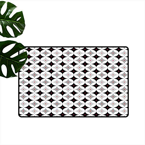 """PEONIY&HOME Mid Century,Office Floor mats Retro Styled Atomic Composition with Vintage Diamond Line Pattern Modern Doormat W 20"""" x L 31"""""""