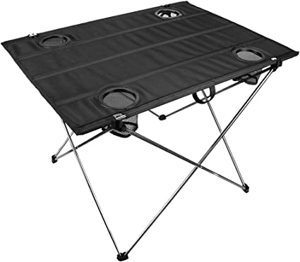 Roll-up with Carrying Bags for Outdoor Picnic BBQ Beach Fishing Hiking Portable Camping Table Lightweight Folding Table with 2 Cup Holders