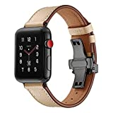 JP-DPP9 Apple Watchband, Stylish Durable Butterfly Buckle Leather Wrist Watch Strap Band for Apple Watch Series 1/2/3 (42mm/38mm) (42mm, Beige)