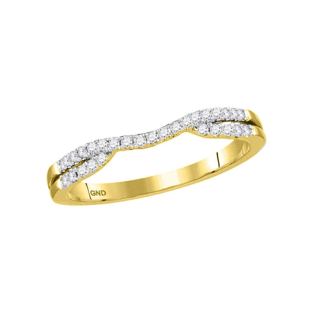14kt Yellow Gold Womens Round Diamond Contour Enhancer Wedding Band Ring 1/6 Cttw
