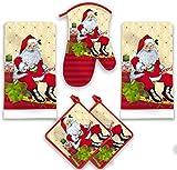 American Mills Christmas Santa Claus Kitchen Towel Set 5 Piece Towels Pot Holders Oven Mitt Decorative Design