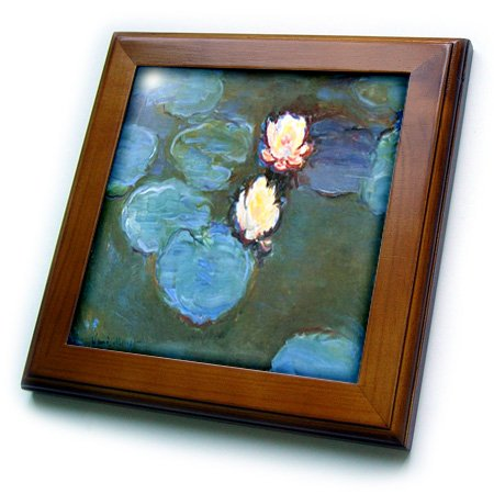 3dRose ft_203690_1 Print of Monet Painting Water Lilies Large Framed Tile, 8
