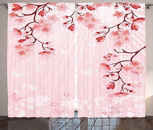 Ambesonne Asian Decor Collection, Japanese Cherry Blossom Sakura Buds Springtime Travel Destinations Seasonal Image Print, Living Room Bedroom Curtain 2 Panels Set, 108 X 90 Inches, Salmon Pink (Decor Springtime)