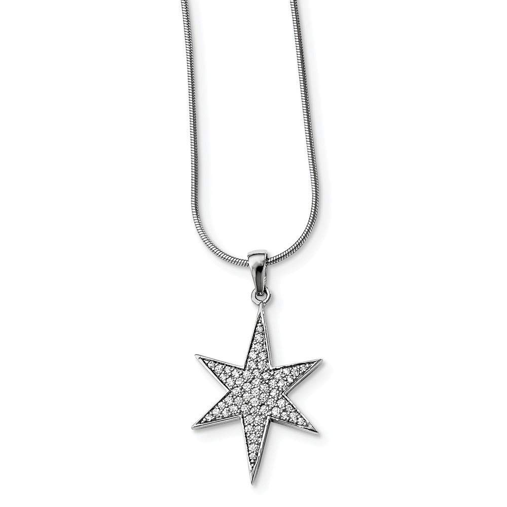 Brilliant Embers Sterling Silver CZ Star Charm Pendant with 18 Necklace