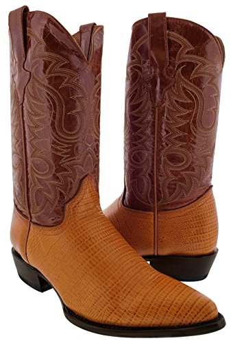 Team West - Men's Cognac Teju Lizard Print Leather Cowboy Boots 13.5 2E US