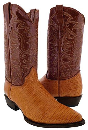 - Team West - Men's Cognac Teju Lizard Print Leather Cowboy Boots 13.5 2E US