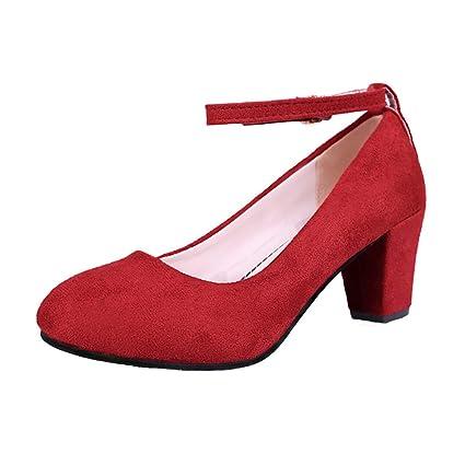 7d9de4e411a86 Amazon.com: Hunzed Women【Flock High Heels】 Pointed Thick Heel ...