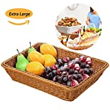 Extra Large Poly-Wicker Bread Basket Rectangle Imitation Rattan for Food Serving Restaurant/Kitchen/Coffee Table Diplay Decor Baskets Fruit Snacks Container-2 Pack (16'' x 12'' x 4'') Brown