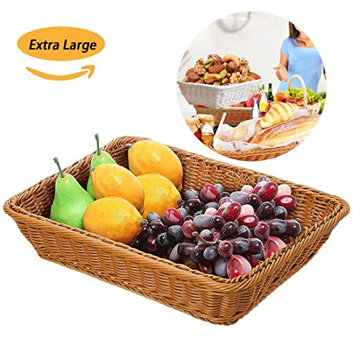 Poly Basket - Extra Large Poly-Wicker Bread Basket Imitation Rattan Rectangle Tray for Food Serving Restaurant/Kitchen/Coffee Table Display Organizer Decoraion Baskets Fruit Snacks Container,(16