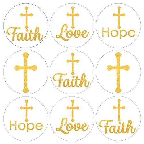 Baptism, Christening, First Communion Party Favor Decorations - Gold Cross - 180 Stickers