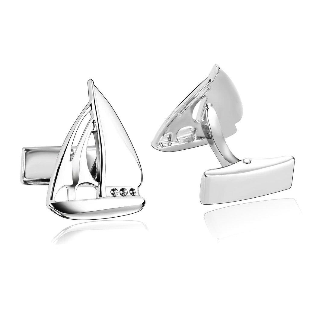AnazoZ Schmuck Edelstahl Herren Manschettenknöpfe Segeln Yacht Segelboot Silber, Manschetten Knöpfe für Männer BTTJH65P252