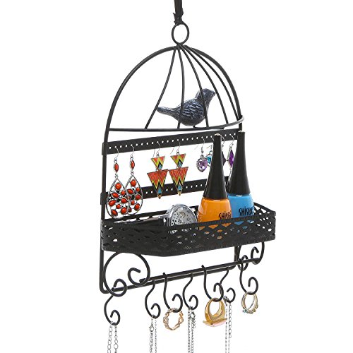 Black Metal Bird Cage Design Hanging Jewelry Rack w/ Cosmetics Tray, 2 (Black Metal Hanging)