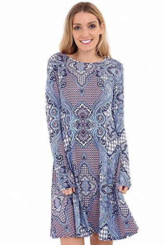 21fashion Mujer Paisley Azul Vestido Overlay HzHZq