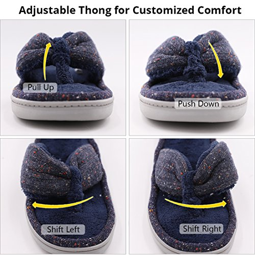 Women's Soft & Comfy Knitted Plush Fleece Lining Memory Foam Spa Thong Flip Flops House Slippers (Large/9-10 B(M) US, Navy Blue) by HomeTop (Image #5)