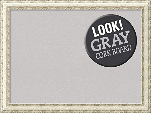 Amanti Art Large, Outer Size 32 x 24 Grey Cork Cape Cod White Wash Framed Bulletin Boards, 28x20 ()