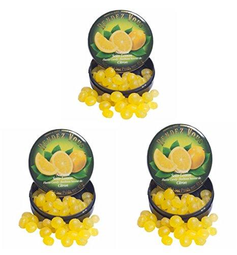 French Hard Candy - Natural Sour Lemon Flavor Bonbons Saveur De Citron Hard Candy- 1.5oz- 3 Pack (Citron, 3-Pack)