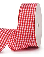 Red Gingham Ribbon Checkered Ribbon 1-Inch 25 Yard Each Roll For Crafts, Gift packing, Wedding Decoration(Red)