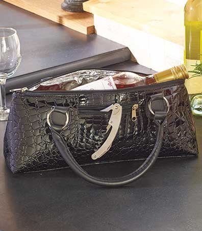 Luxury Insulated Wine Clutches Black Croc