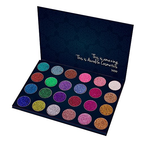 Aurelife 24 Color Professional Pressed Glitter Eyeshadow Palette - Mineral Shimmer Makeup Palette Eye Shadows Flash Color Cosmetic Set - Highly Pigmented , Waterproof & Long-Lasting