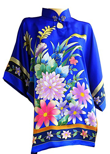 [Amazing Grace Chinese Hand Painted Silk Mumu (Blue)] (Costumes With Mumus)