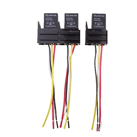 Sharplace 3 Set Relés SPST 24V 30A 4 pin Y 4 Cables Enchufes ...